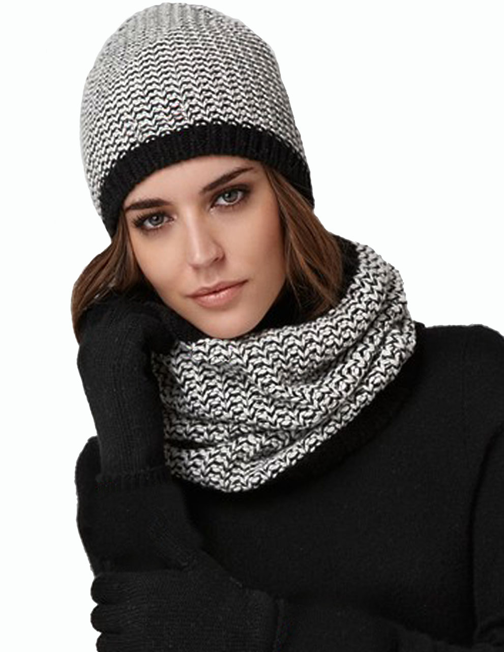 Unisex Chevron Alpaca Circle Scarf and Beanie Black / Cream - Female Model