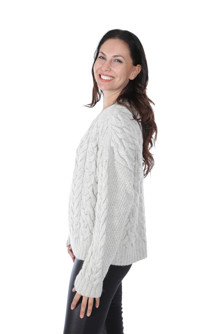 730ab8fb42 ... Alexa Cable Pullover Sweater Side-view on Model ...