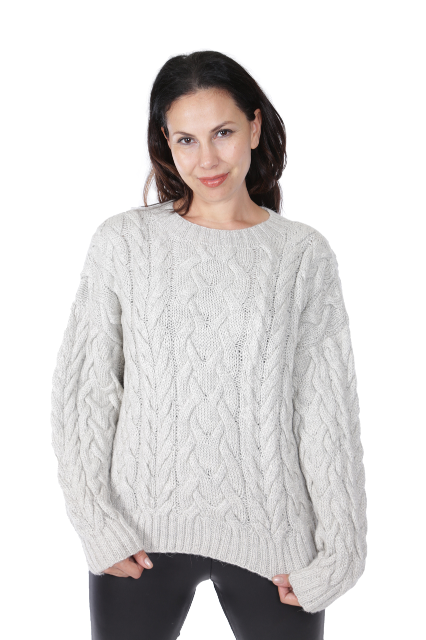 Alexa Cable Pullover Sweater  Front on Model