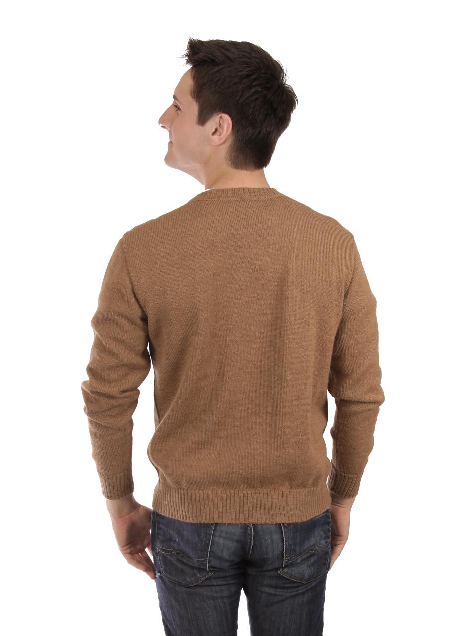 Men's Brad Round Neck Alpaca Sweater On Model - Back
