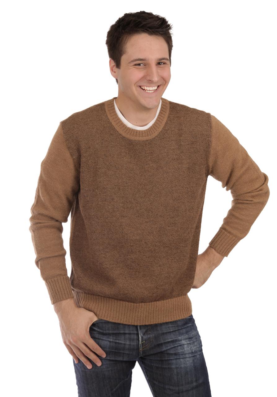Men's Brad Round Neck Alpaca Sweater On Model - Front - Brown
