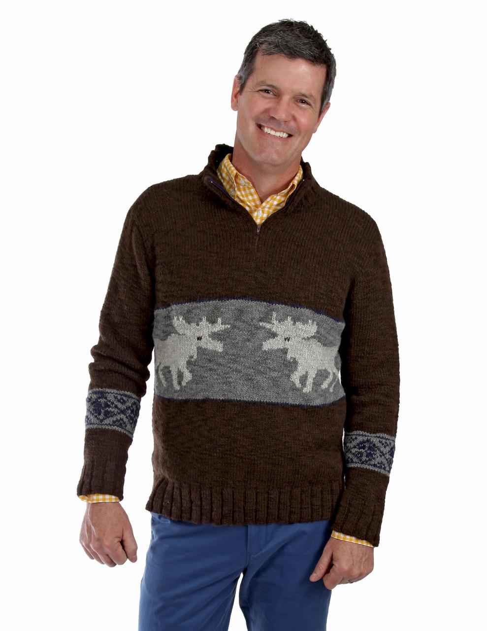 Men's Montana Bulky Alpaca Zip Neck Pullover On Model - Front