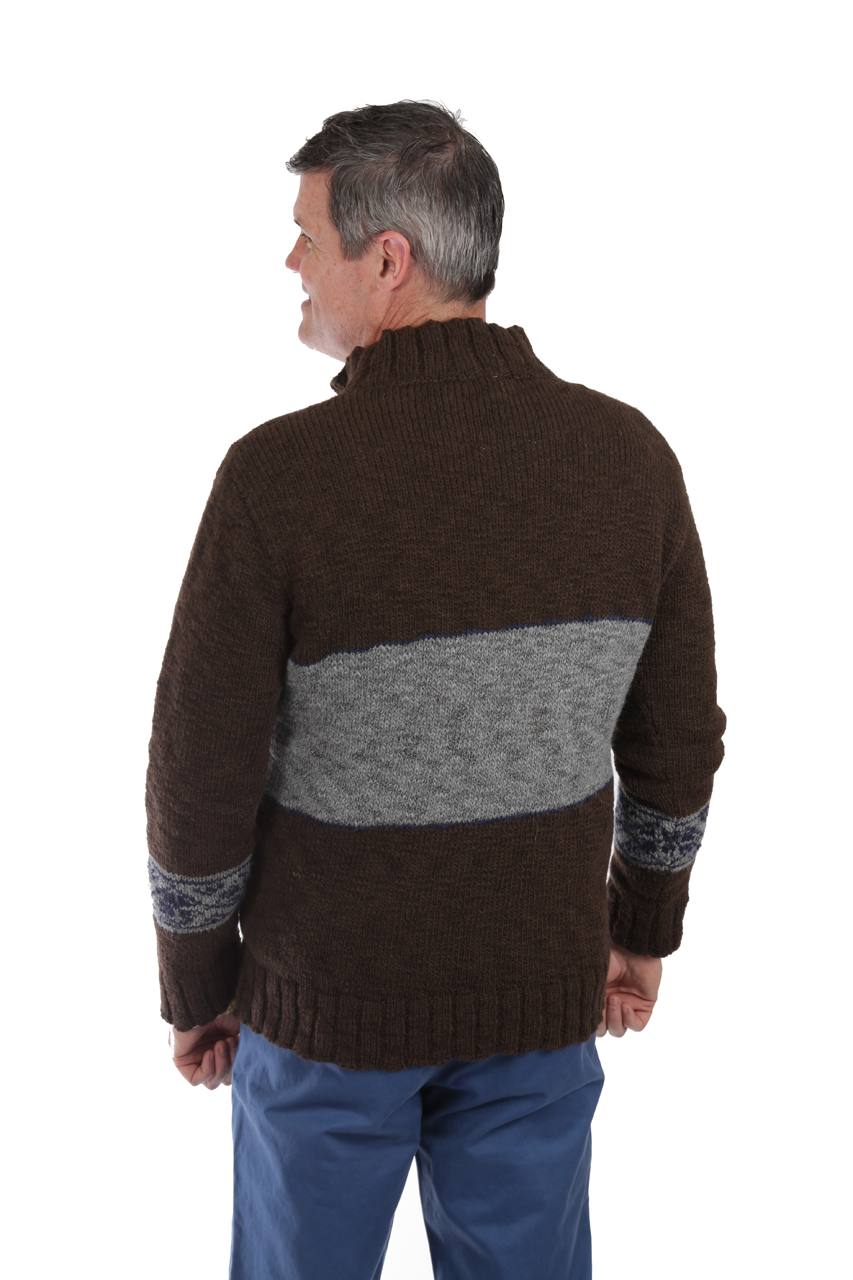 Men's Montana Bulky Alpaca Zip Neck Pullover On Model - Back