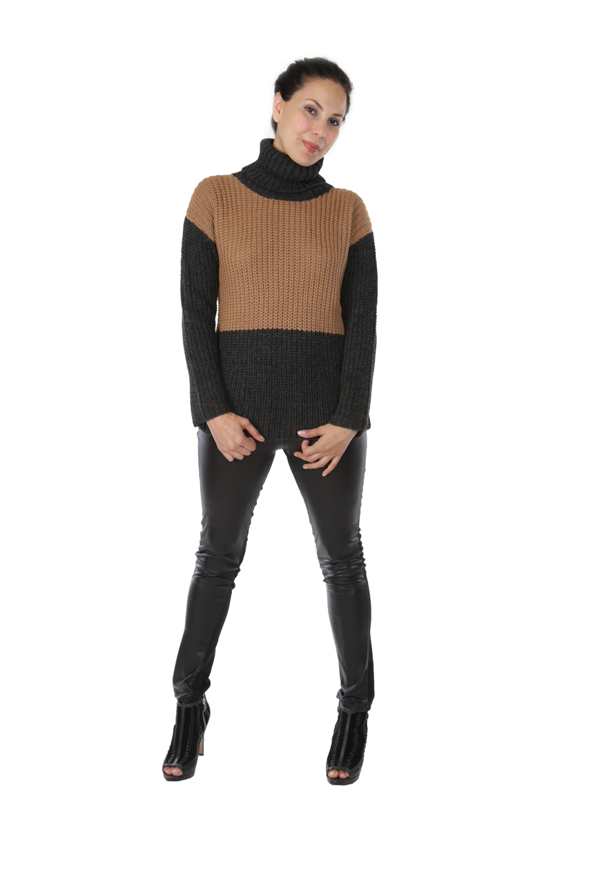 Lydia Color Block Turtleneck Full Size