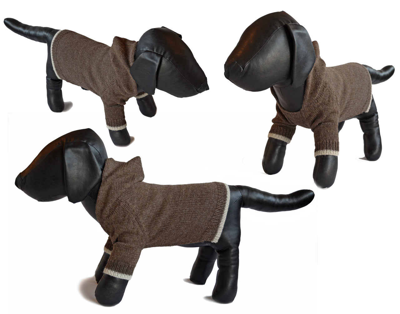 Hooded Jersey Raglan Sleeve Dog Sweater Multi view