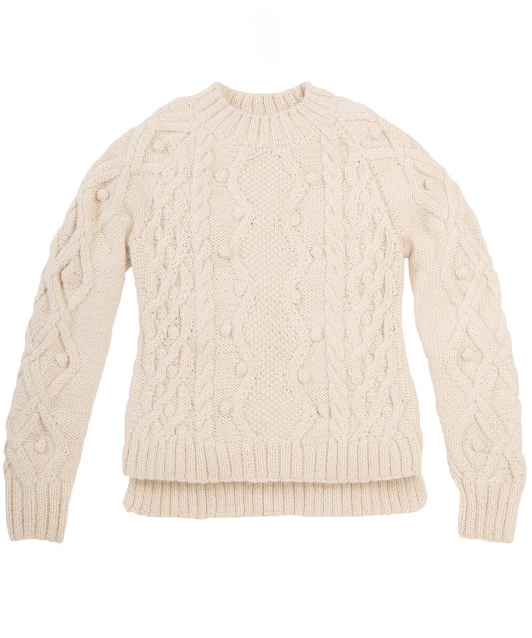 Olivia Aran Cropped Alpaca Sweater  Flat