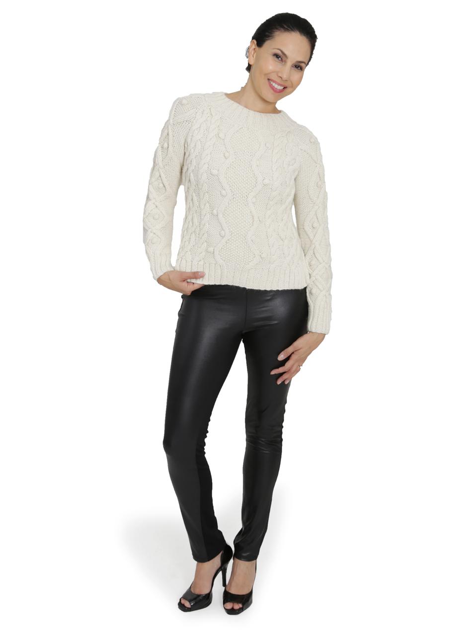 Olivia Aran Cropped Alpaca Sweater  Full Size