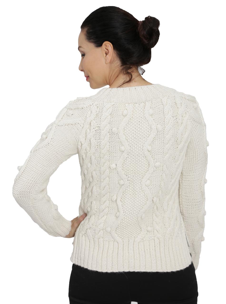 Olivia Aran Cropped Alpaca Sweater  Back on Model