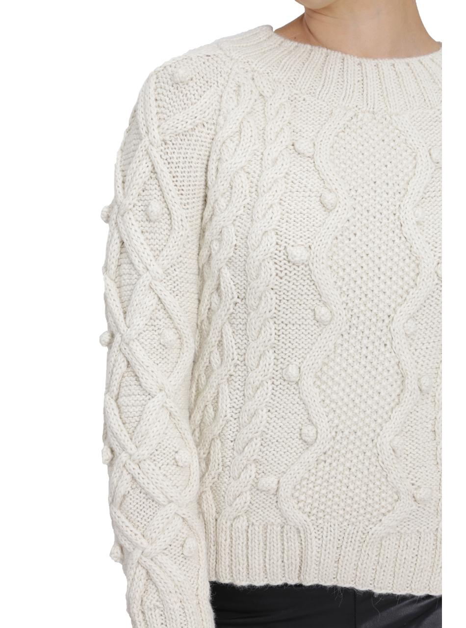Olivia Aran Cropped Alpaca Sweater  Detail