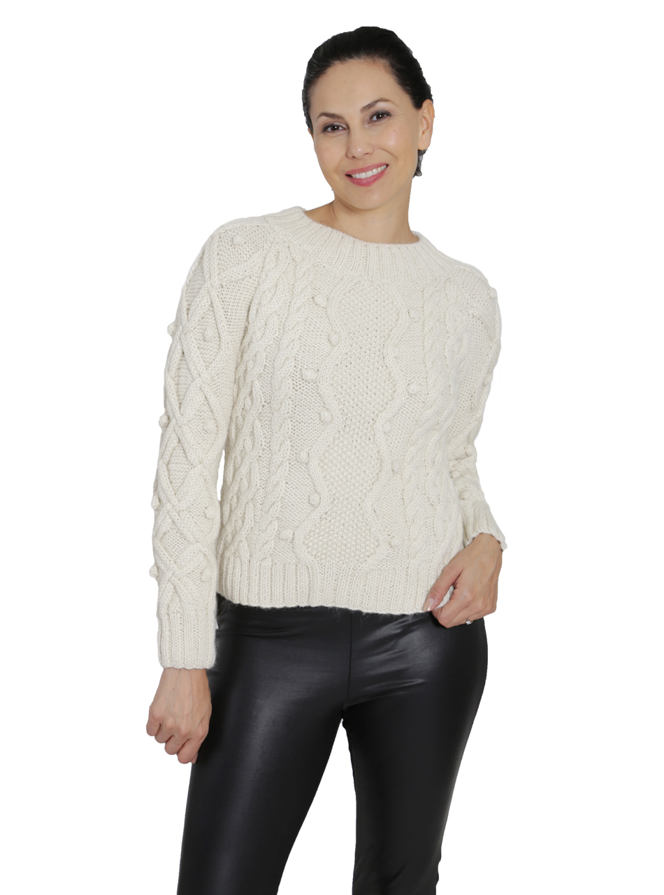 Olivia Aran Cropped Alpaca Sweater  Front on Model