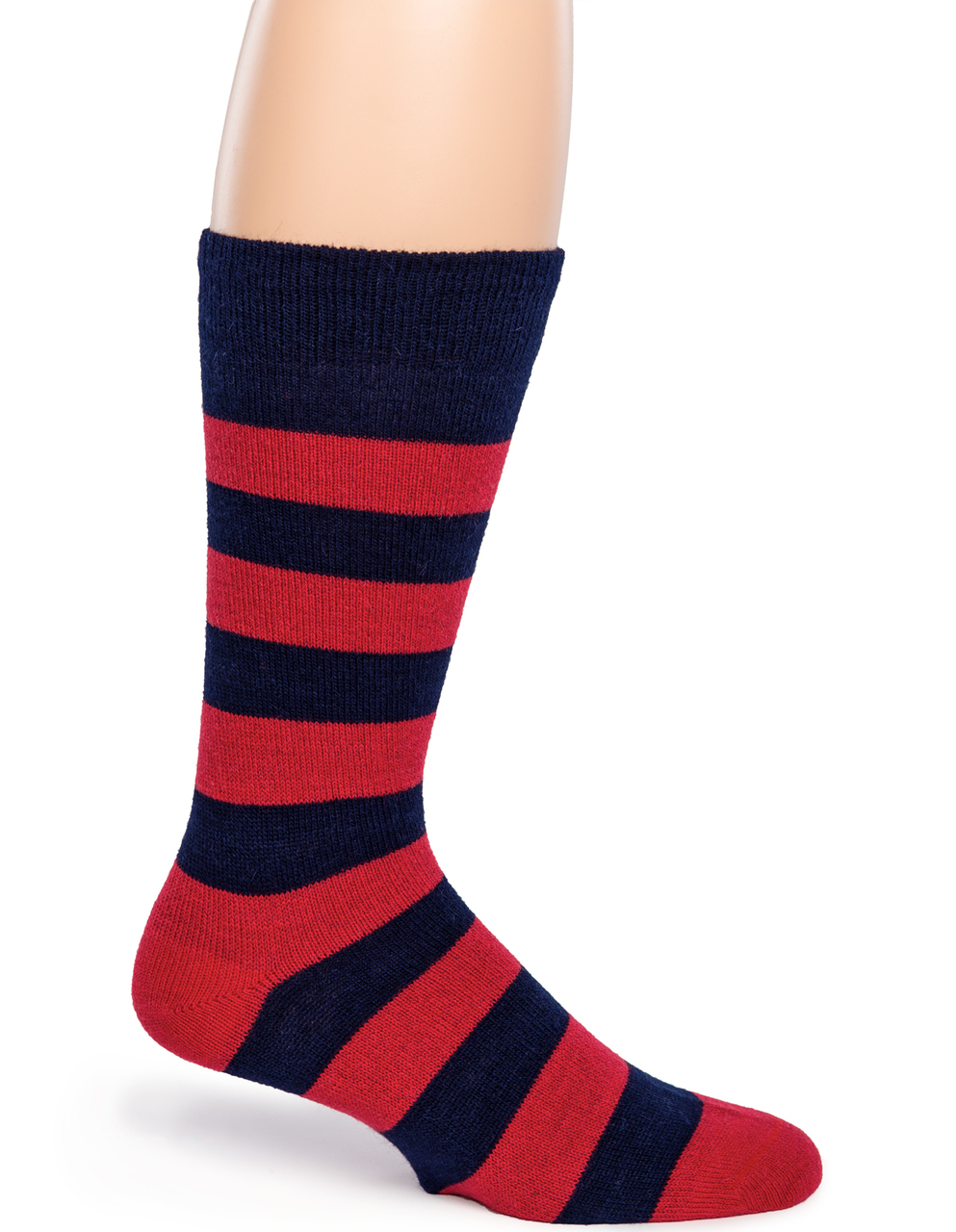 Thick Stripe Crew Alpaca Socks - Side