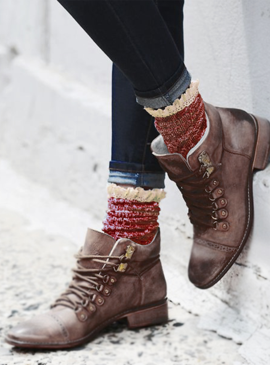 Lace Trimmed Heathered Boot Socks On Model (c)