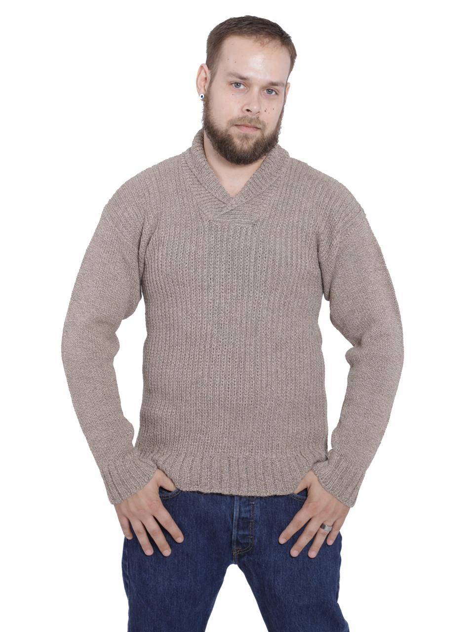 Dennet Men's Funnel Neck Alpaca Pullover Front