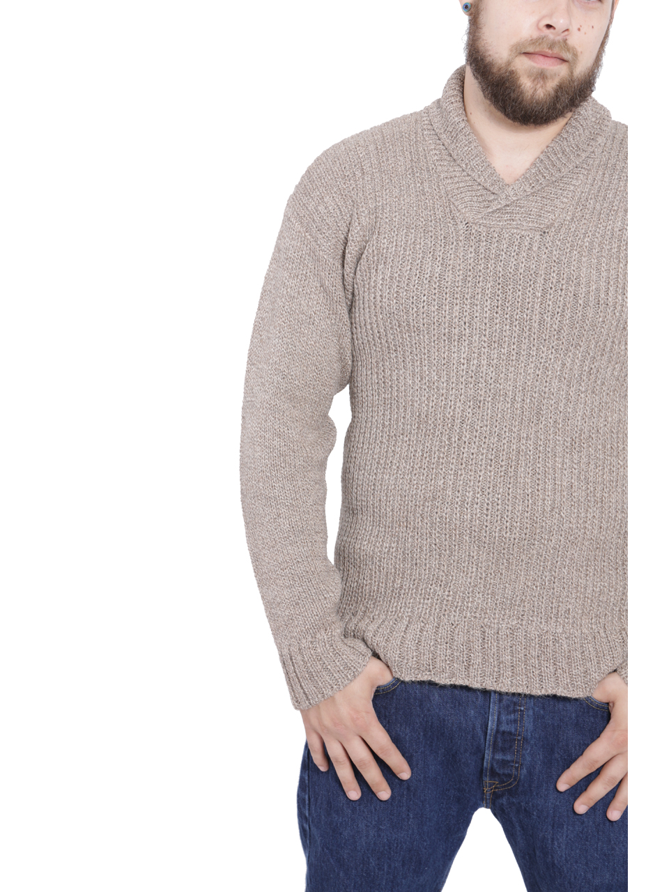Dennet Men's Funnel Neck Alpaca Pullover Detail