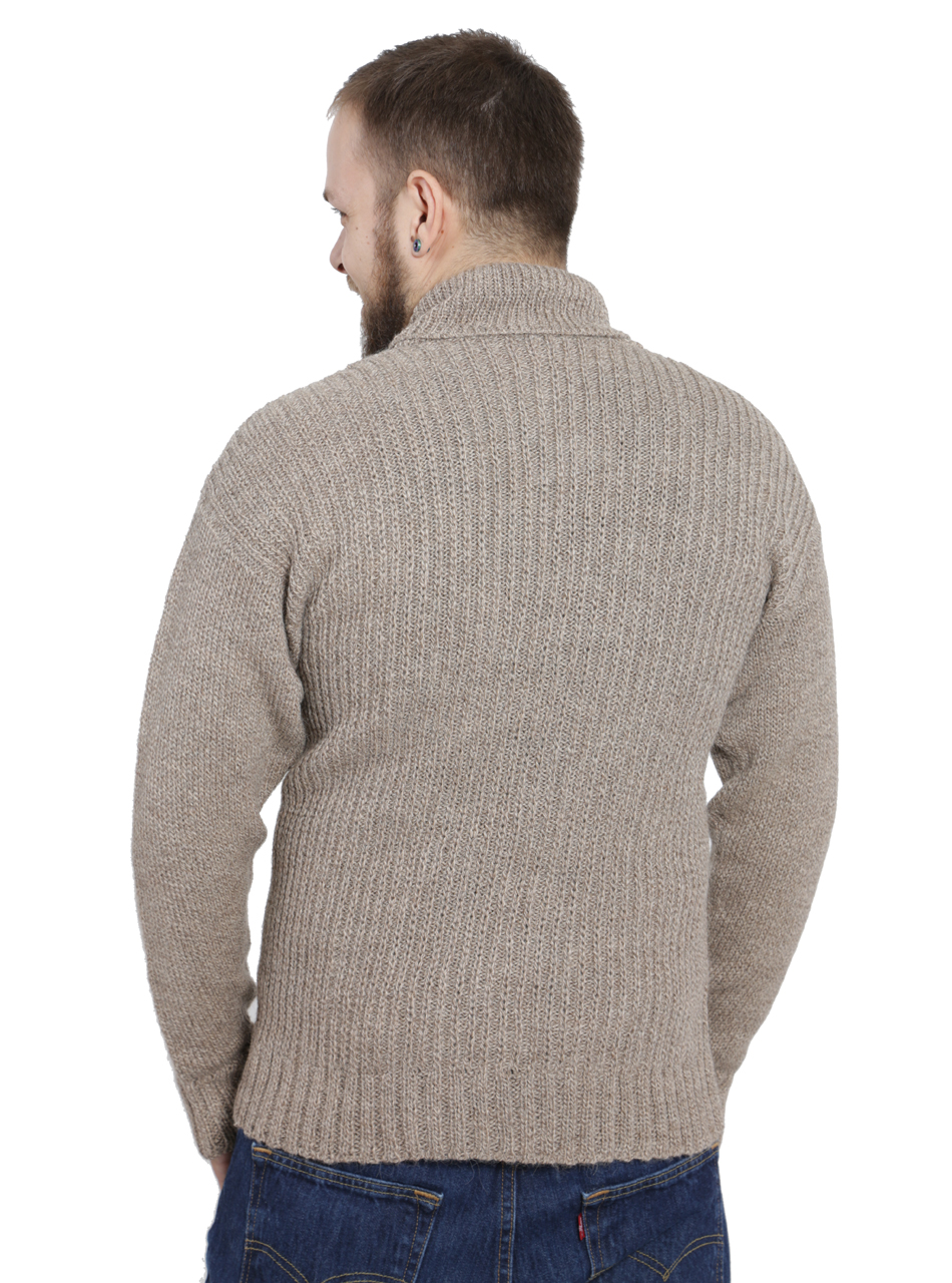 Dennet Men's Funnel Neck Alpaca Pullover Back