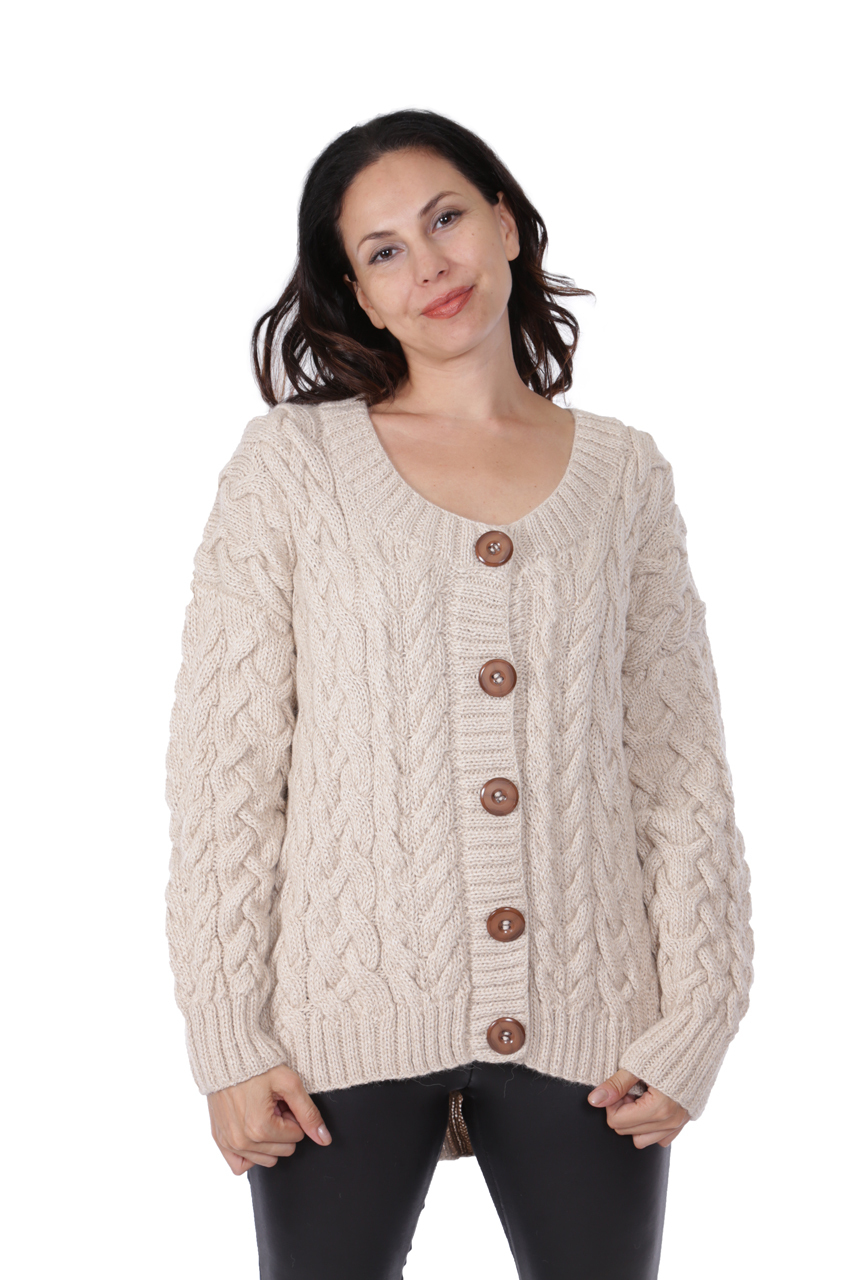 Alexa Cable Cardigan Front on Model