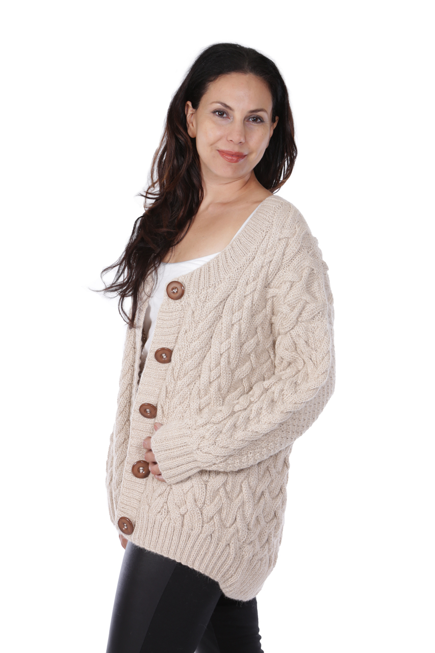 Alexa Cable Cardigan Side on Model
