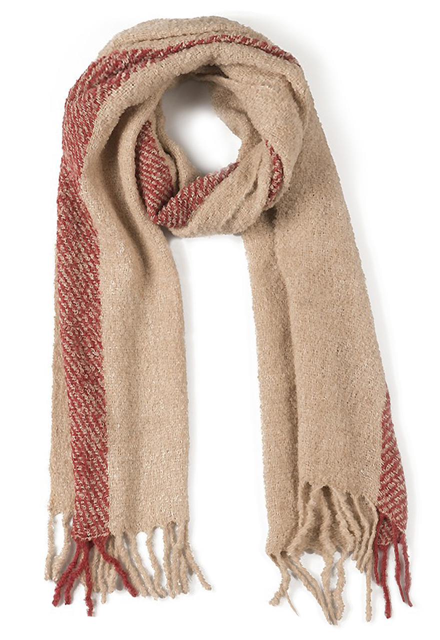 Whisper Soft Single Stripe Nubby Scarf Brick / Ecru