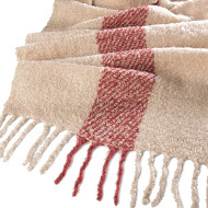 Whisper Soft Single Stripe Nubby Scarf Brick / Ecru - Close Up