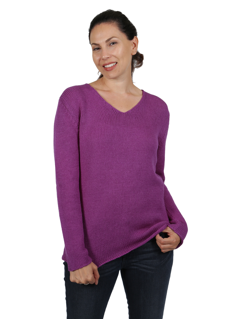 Jewel Baby Alpaca V-Neck Pullover Front