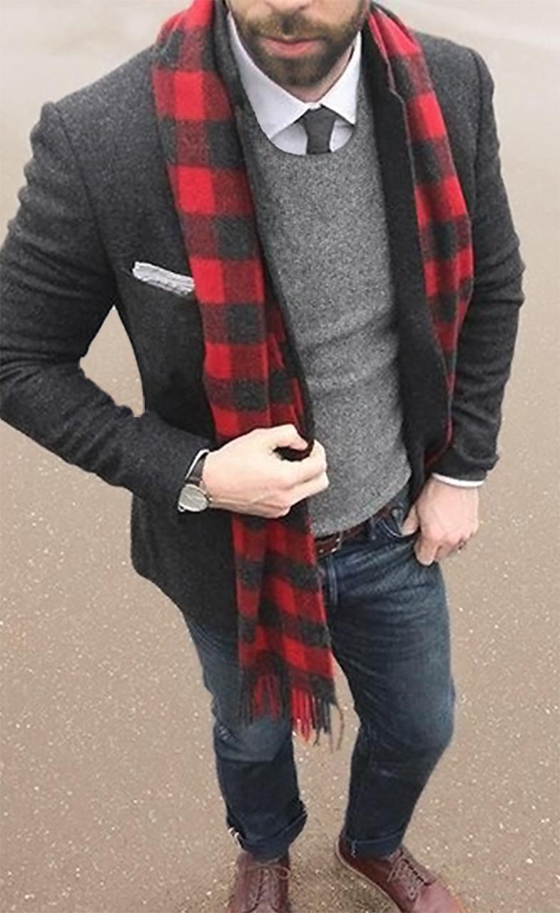 Buffalo Plaid Lumber Jack Scarf on Model