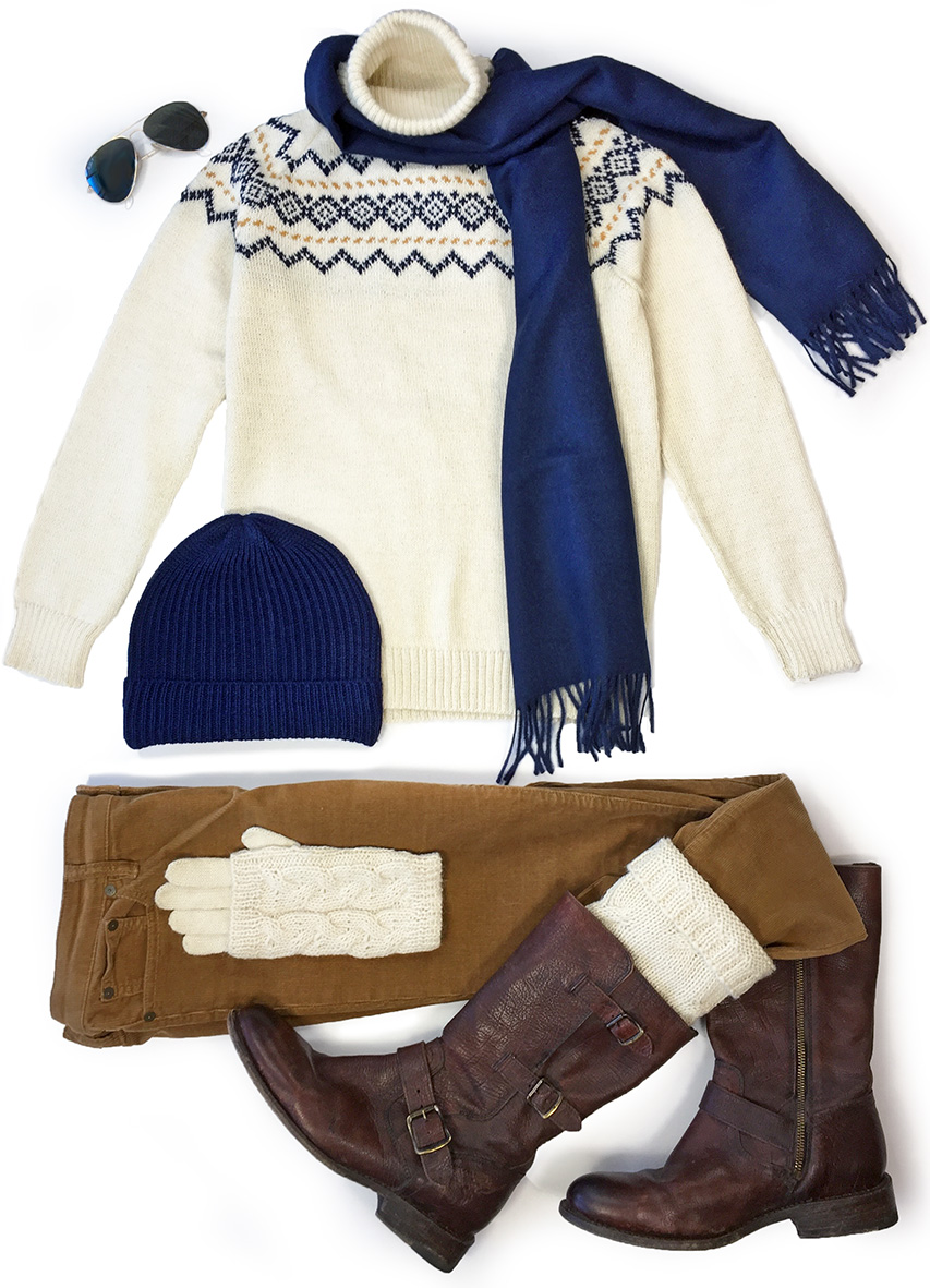Vintage Ski Turtleneck - Fair Isle  Styled with Cap, Scarf, Gloves and Boot Cuffs