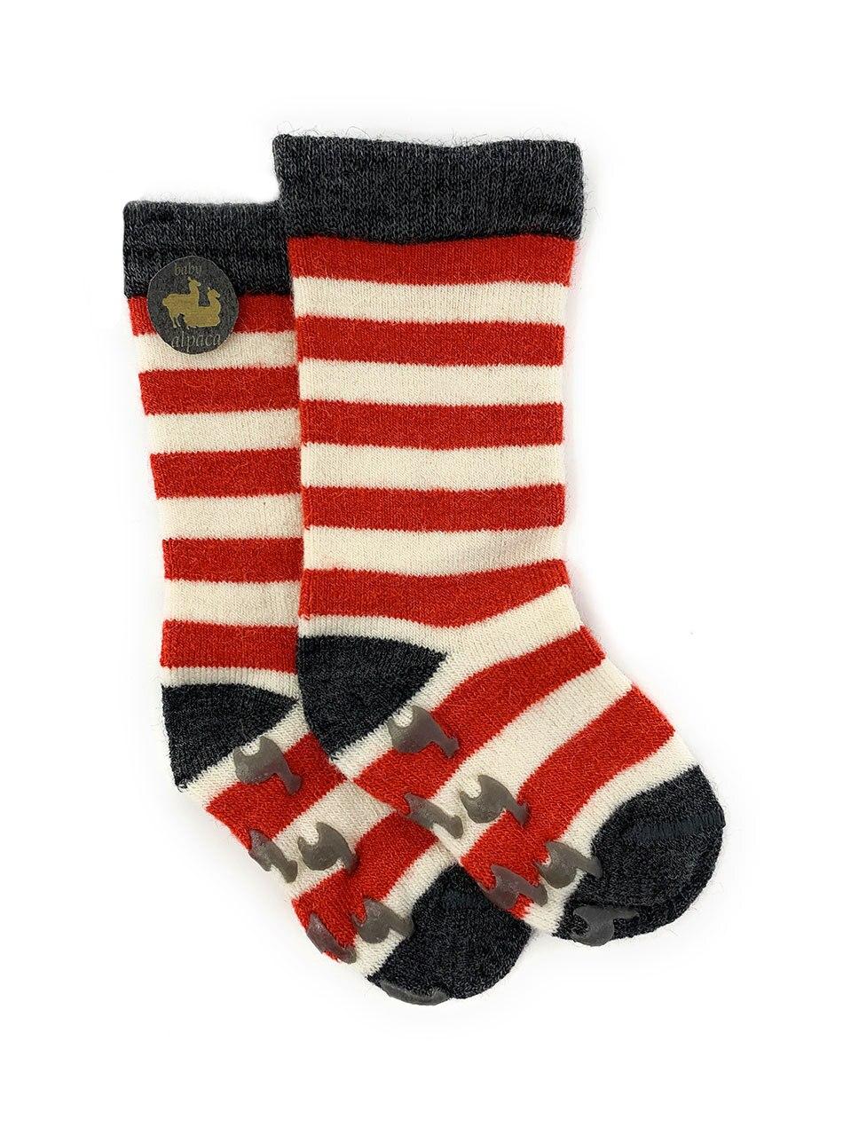 Striped Toddler Alpaca Socks  - Non-Skid Flat View