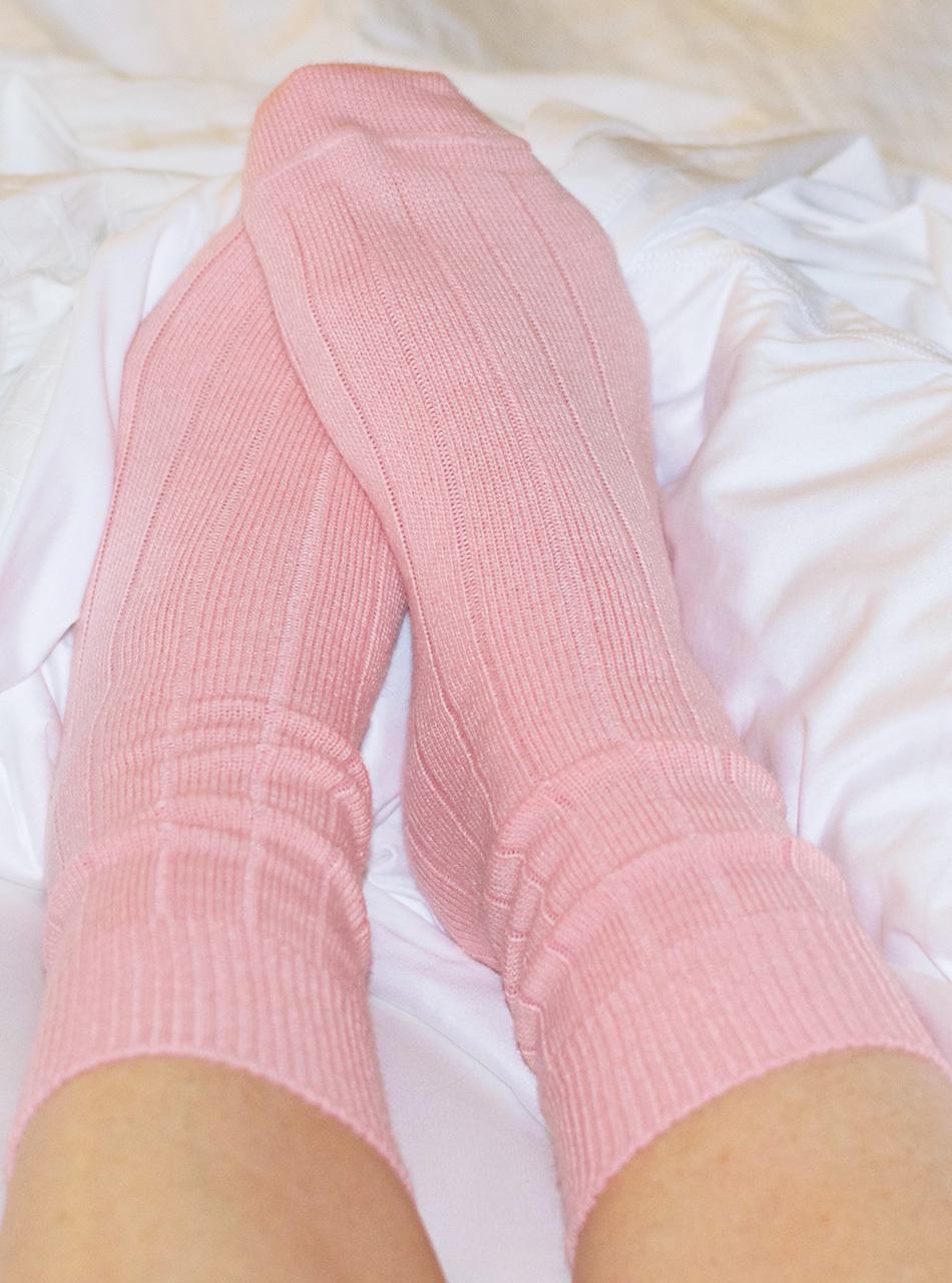 Baby Alpaca Wide Ribbed Lounge Socks  On feet