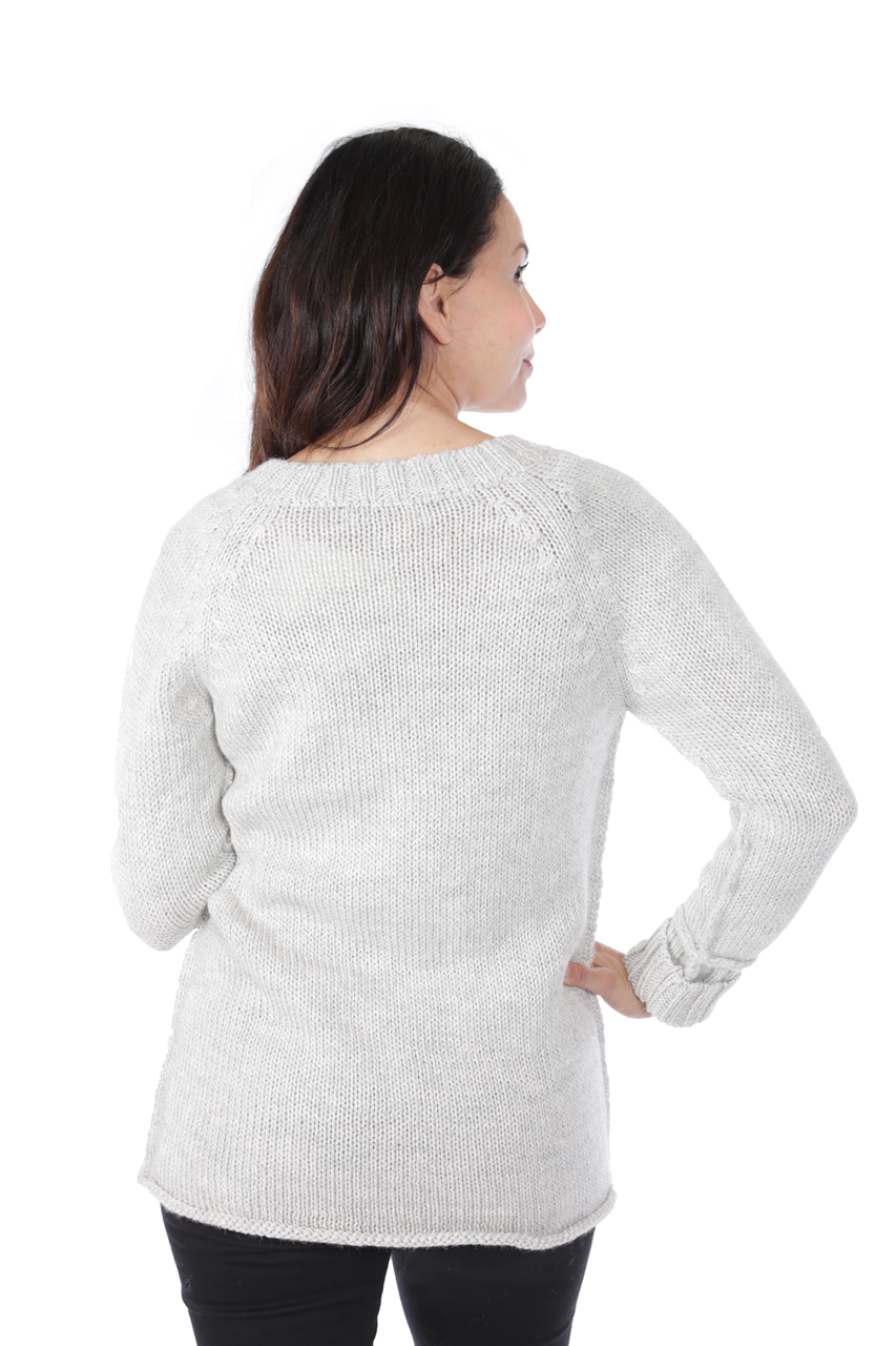 Knightley V-Neck Sweater Back on Model