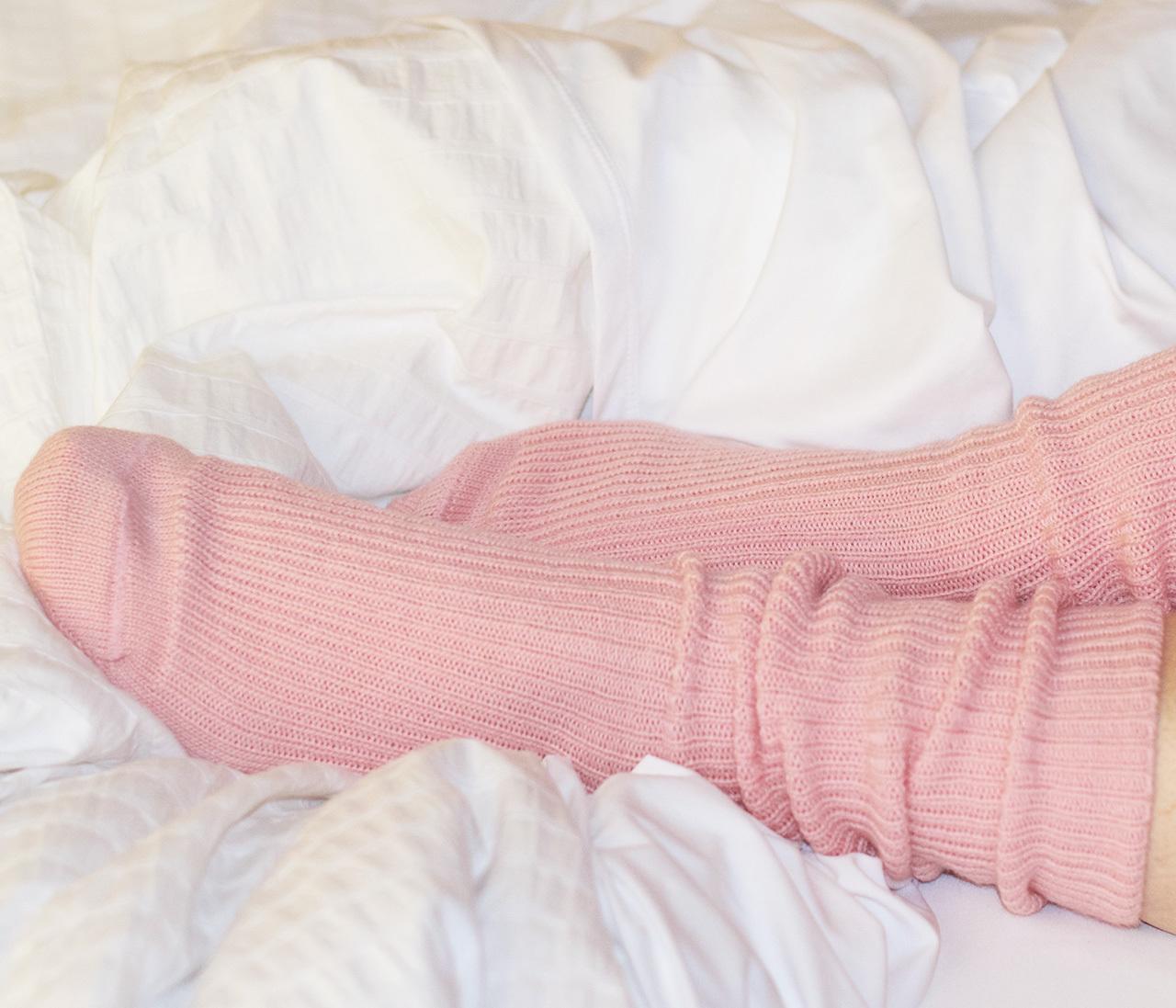 Baby Alpaca Bed Socks On feet