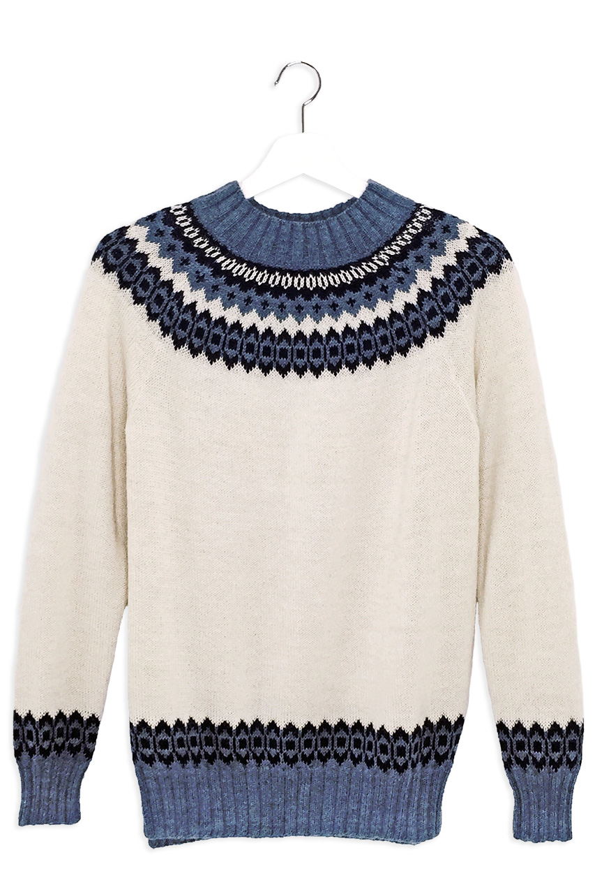 Baltic Sea Fair Isle Crew Pullover Hanging Front