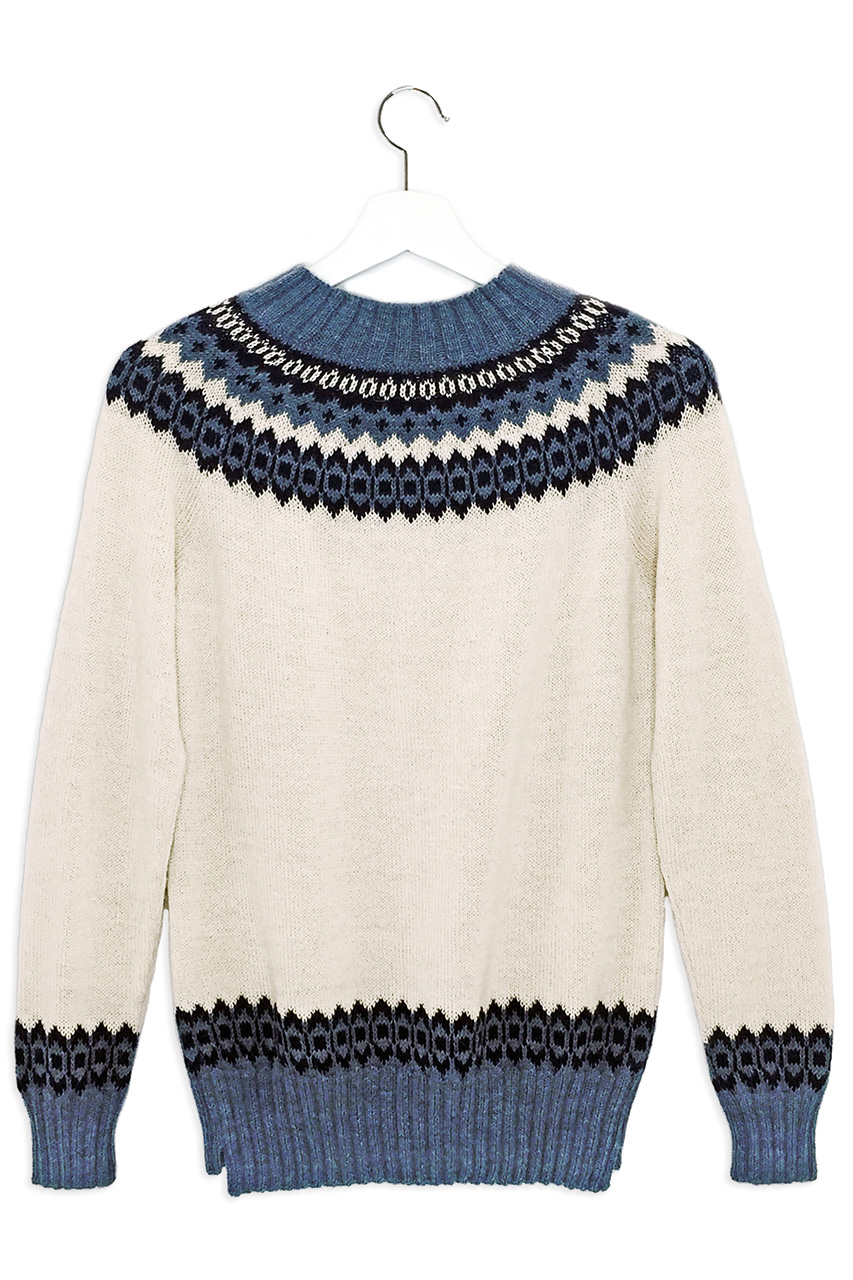 Baltic Sea Fair Isle Crew Pullover Hanging Back