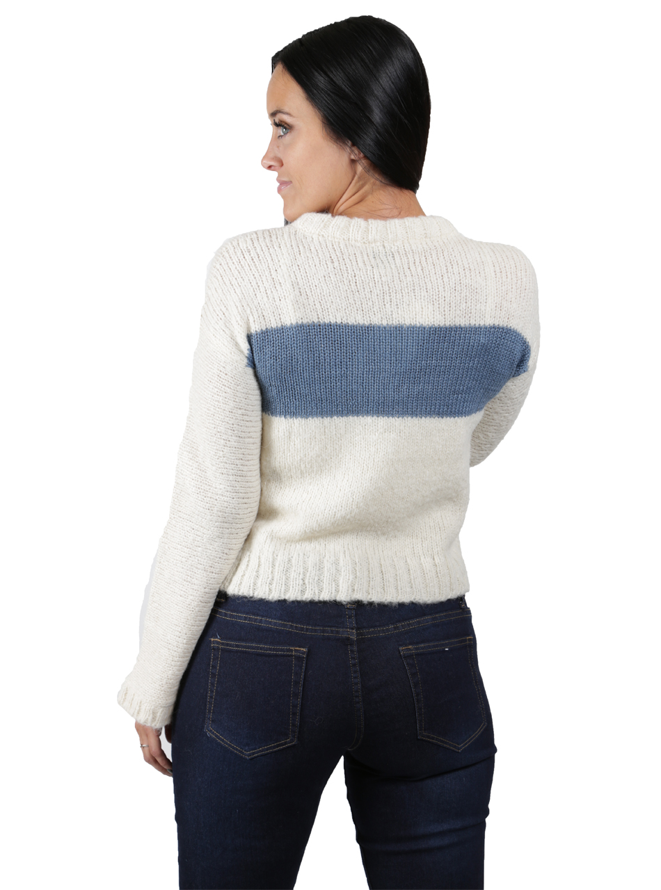 Emmy Striped Alpaca Boucle Pullover Back