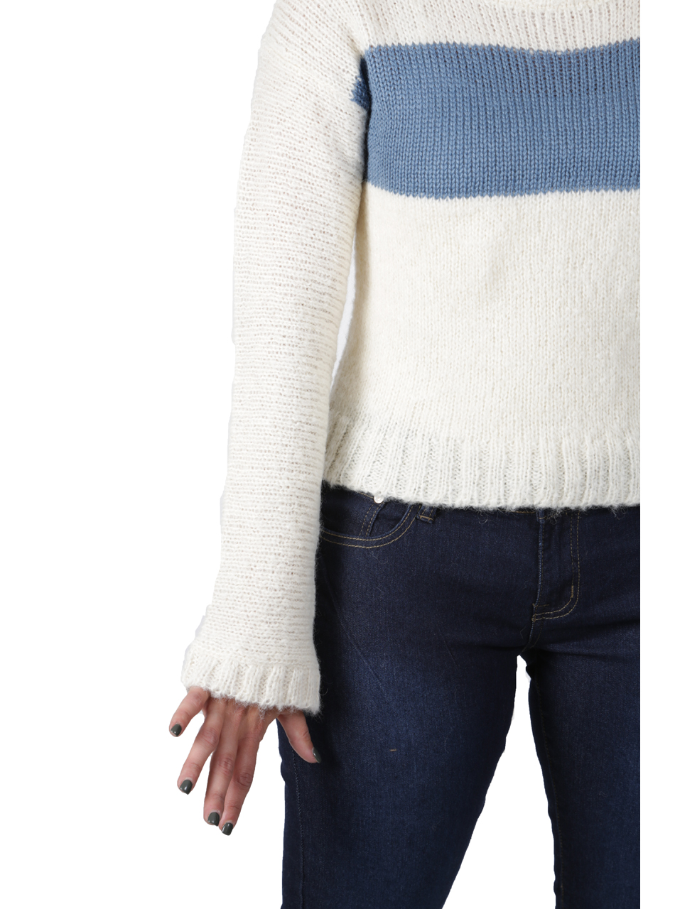 Emmy Striped Alpaca Boucle Pullover Detail
