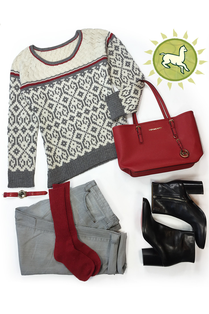 Sweetheart Baby Alpaca Pullover  Styled with alpaca socks, grey jeans and black boots.