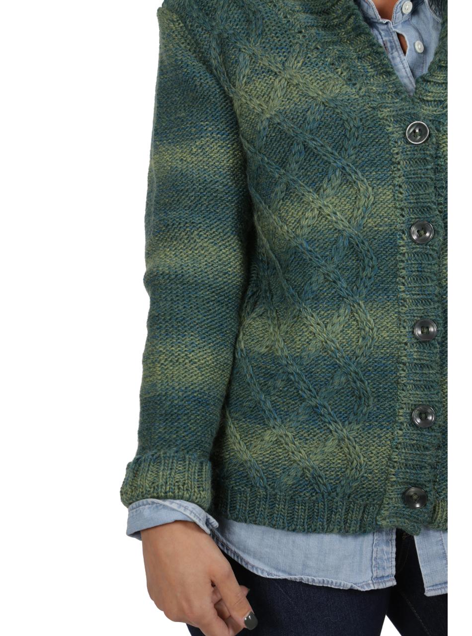 Lattice Knit Alpaca & Wool Cardigan Detail