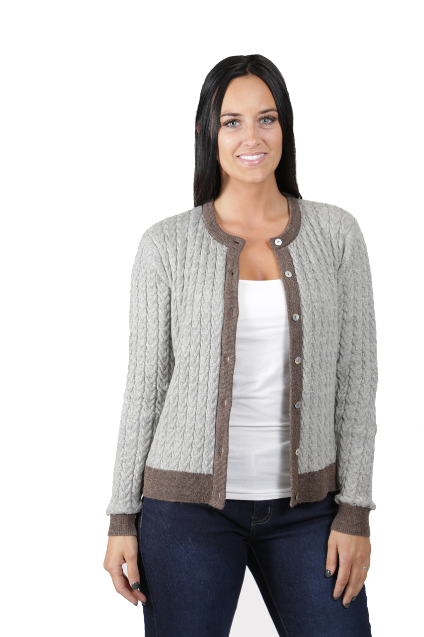 Smoke/Heather Cable Knit Cardigan  Front Open Un-buttoned