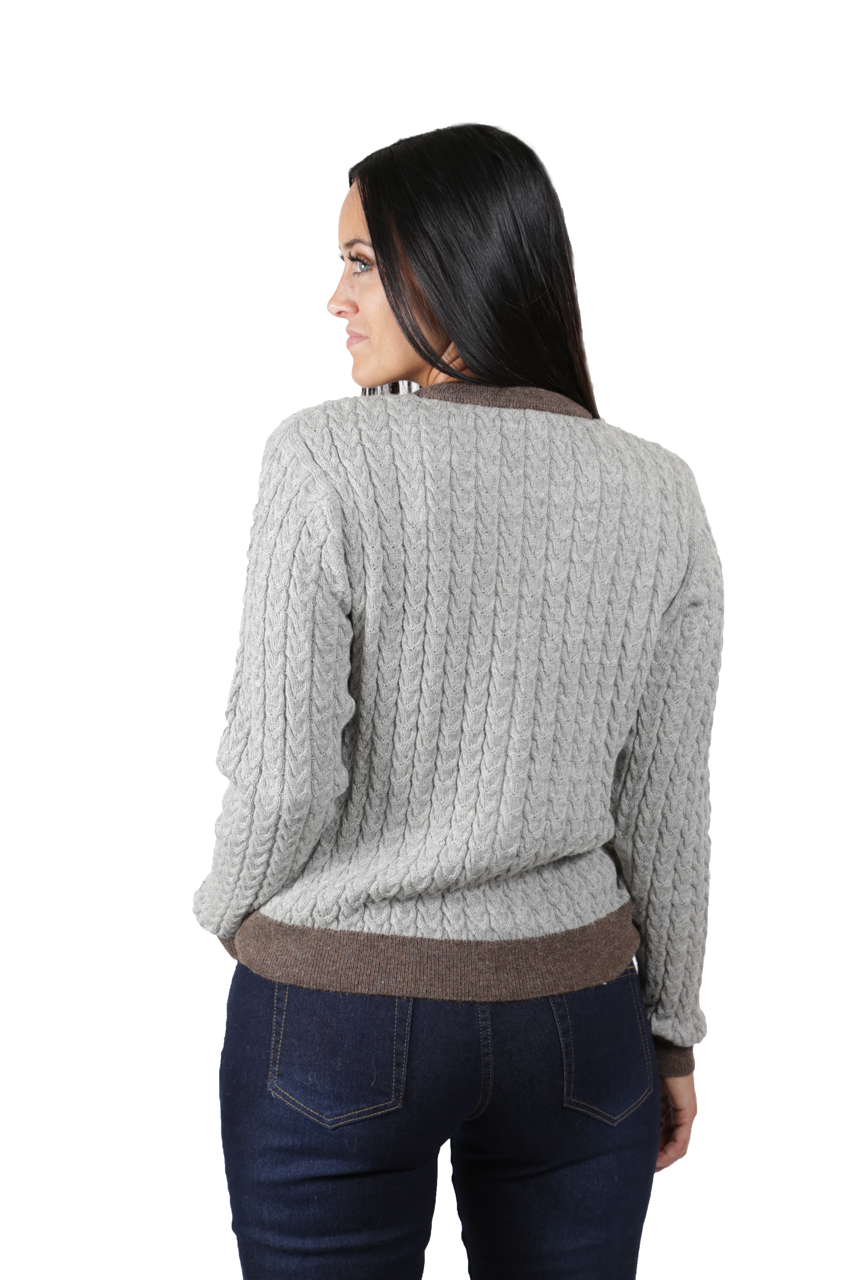 Smoke/Heather Cable Knit Cardigan  Back