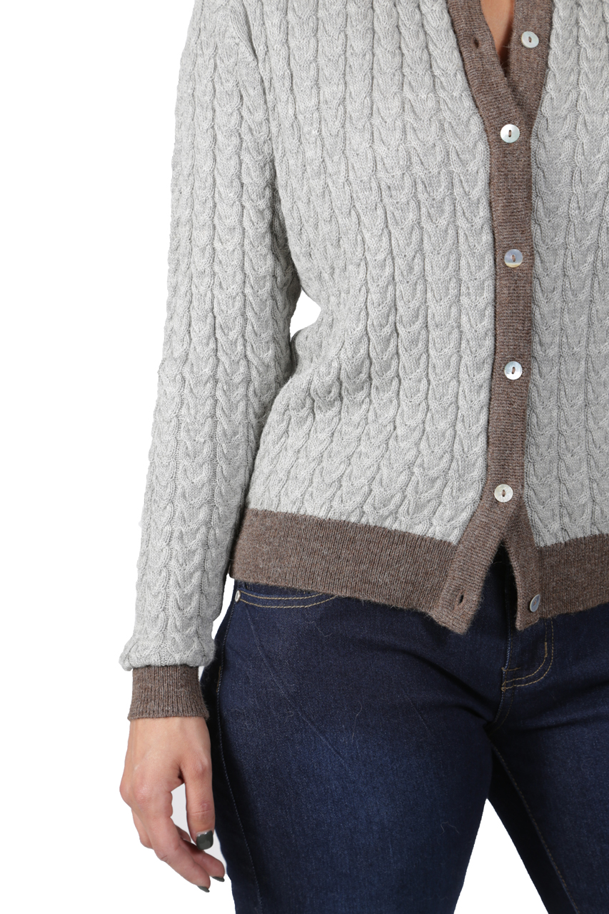 Smoke/Heather Cable Knit Cardigan Detail
