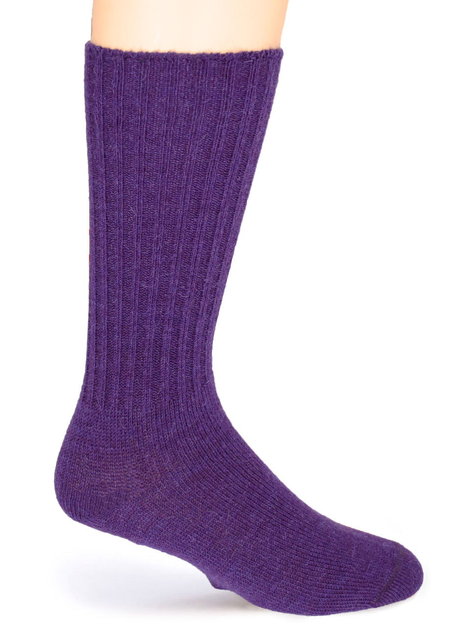 Ribbed Casual Alpaca Socks Purple - Side