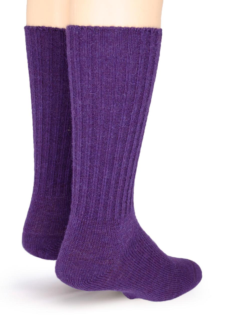 Ribbed Casual Alpaca Socks Purple - Back
