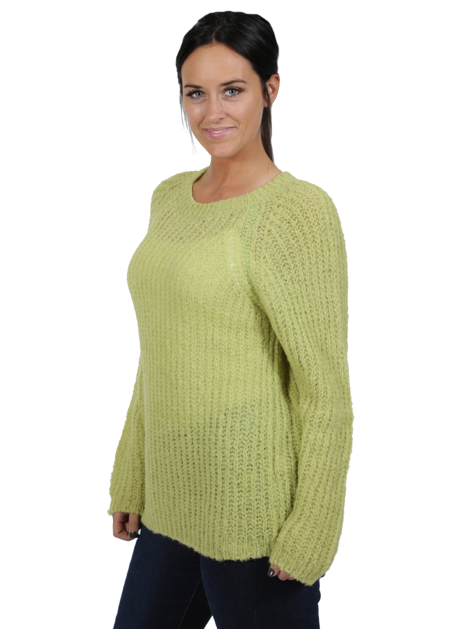 Alpaca Sweater - Cotton Candy Pullover Sweater  Greenery Side