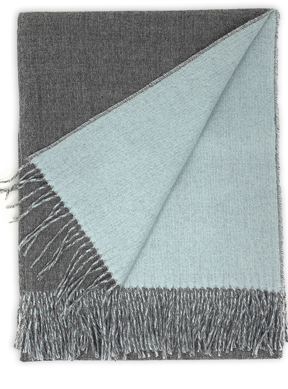 100% Baby Alpaca Wool, Reversible Two Sided Throw Blanket Graystone / Pale Blue showing both sides