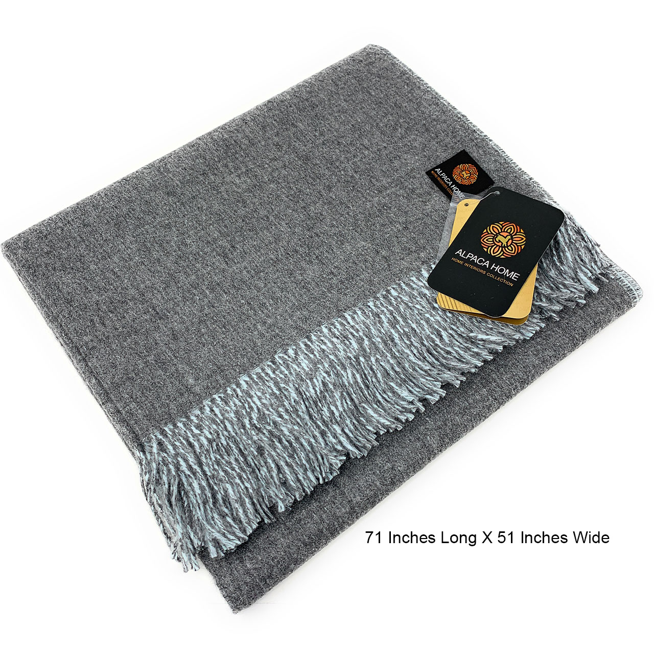 100% Baby Alpaca Wool, Reversible Two Sided Throw Blanket Graystone / Pale Blue folded showing size