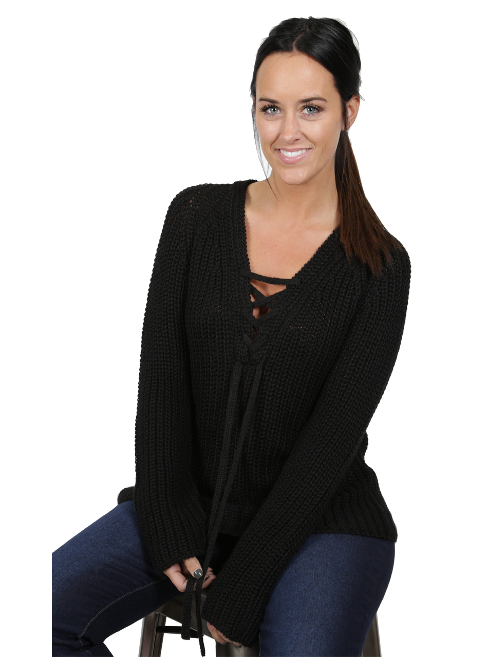 Baby Alpaca Lace-up Pullover Front