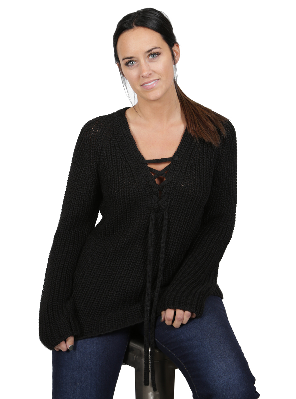 Baby Alpaca Lace-up Pullover Alternate Pose
