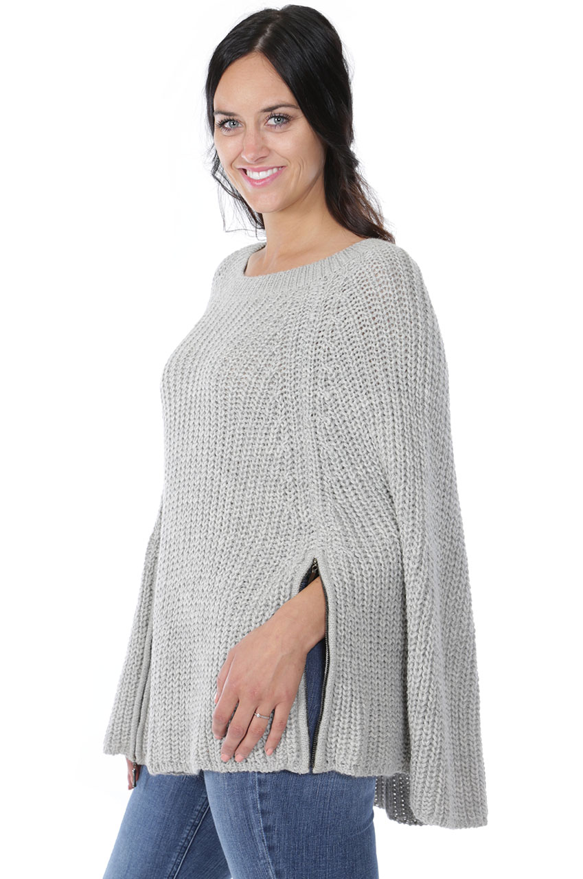 Modern Holmes Poncho Side zipper open