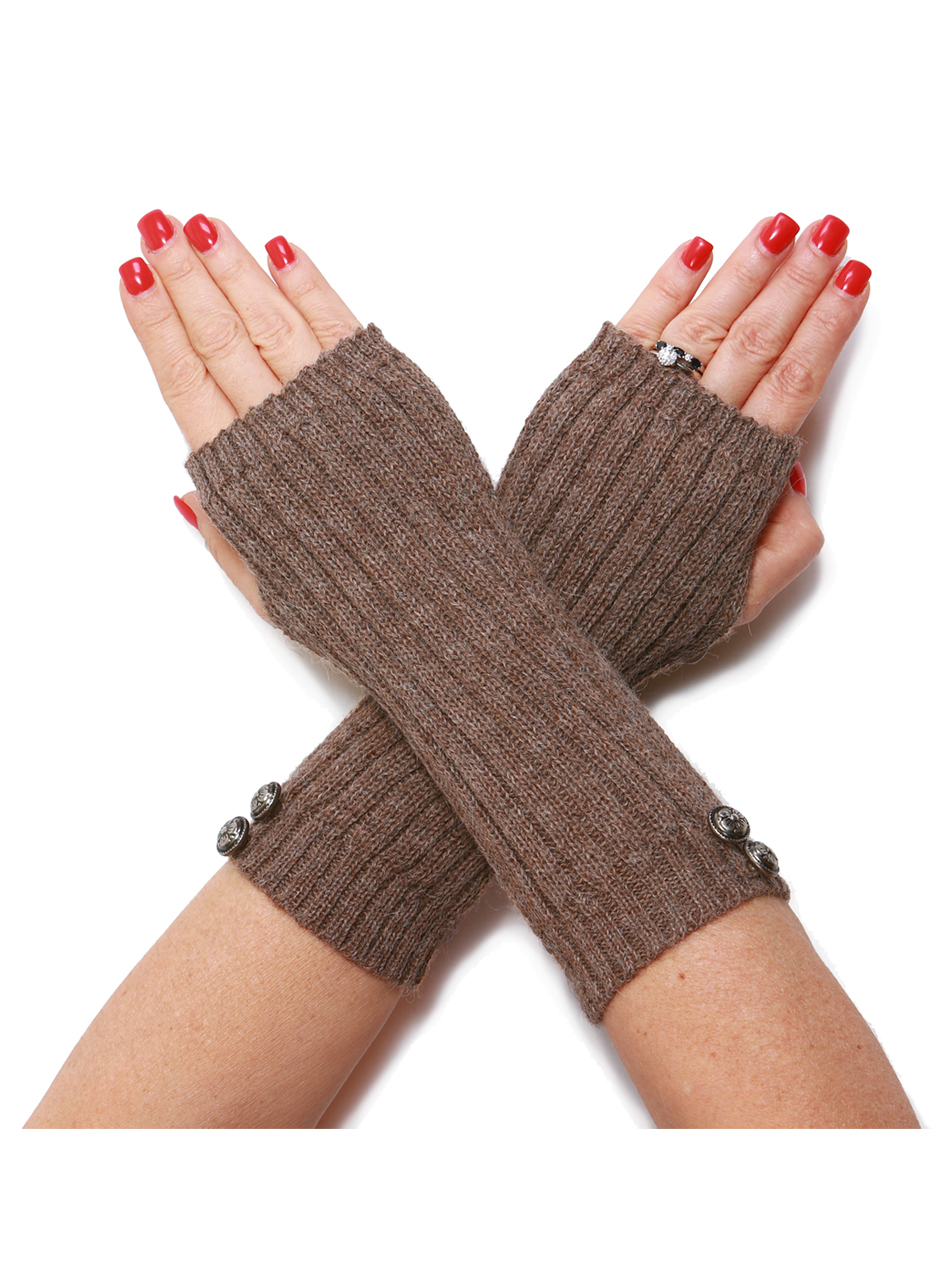 Ribbed Alpaca Fingerless Gloves / Mittens / Wrist Warmers Front