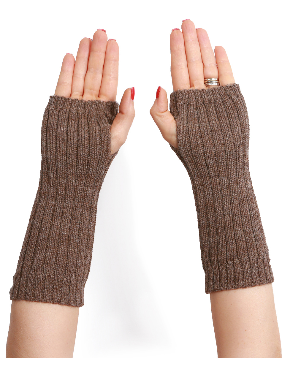 Ribbed Alpaca Fingerless Gloves / Mittens / Wrist Warmers Back