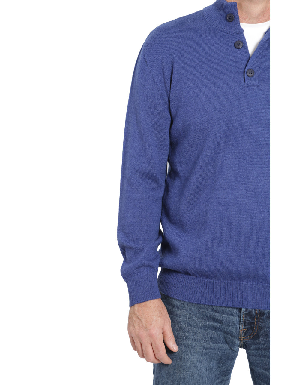Hailey Alpaca 3-Button Pullover Men's Sweater  Detail